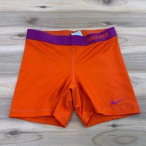 Nike pro orange spandex high waisted shorts medium